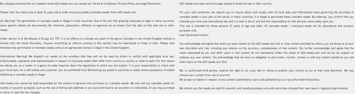 420-seeds site disclaimer